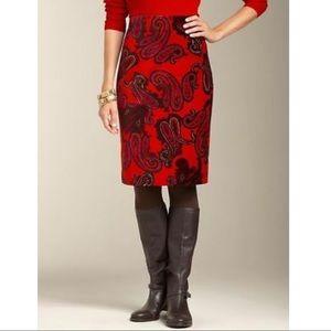 Talbots • Red Orange Paisley Velvet Skirt